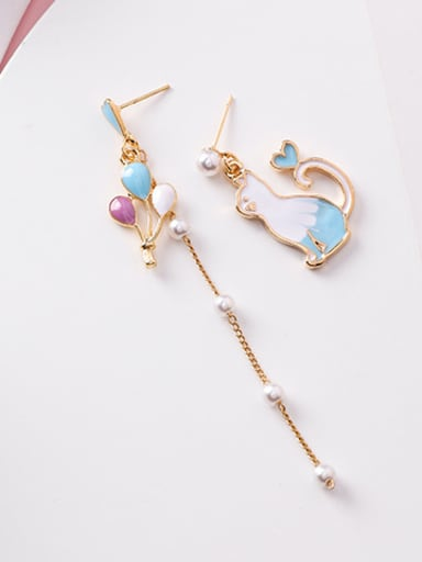 Alloy With Rose Gold Plated Cartoon Colour Balloon Tasseled Cat Threader Earrings