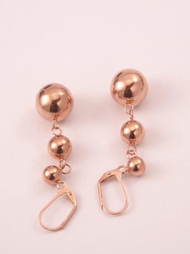 Titanium With Gold Plated Fashion Round Beads Drop Earrings