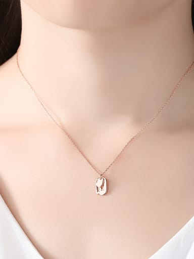 925 Sterling Silver With Rose Gold Plated Simplistic Square Necklaces