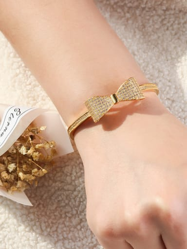 Copper With Cubic Zirconia Romantic Bowknot Bangles
