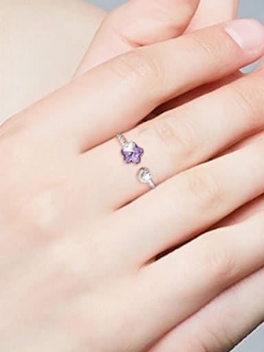 Fashion Purple Zircon Flower 925 Silver Opening Ring