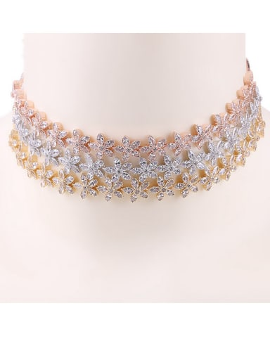 Copper With  Cubic Zirconia  Plated Delicate Flower Chokers  Necklace