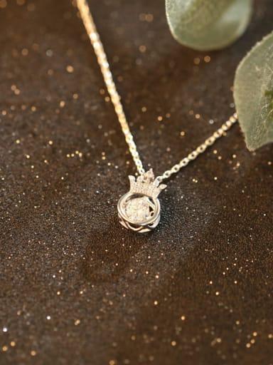 Shining Noble Crown Zircon Silver Necklace