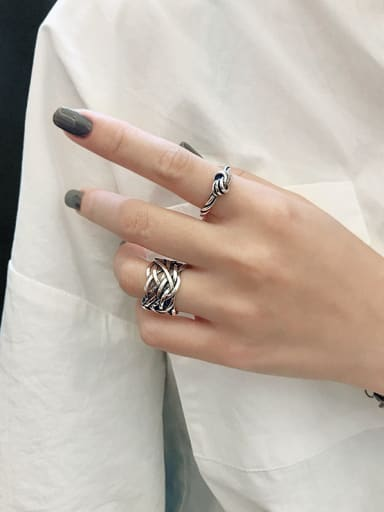 925 Sterling Silver With Gold Plated Personality Knot Free Size Rings