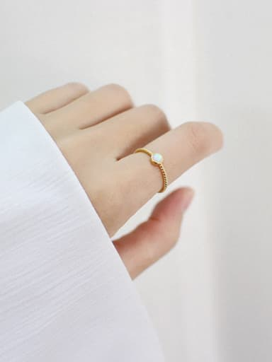 Pure silver opal gold free size ring