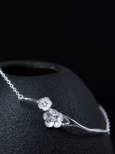 Retro style Little Flowers 925 Silver Women Bracelet