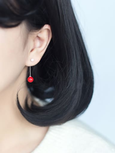 All-match Geometric Shaped Red Shell Bead S925 Silver Drop Earrings