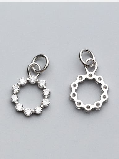 925 Sterling Silver With Rhodium Plated Delicate Round Charms