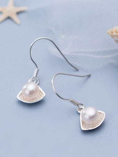 925 Sterling Silver With Artificial Pearl Simplistic Geometric Hook Earrings