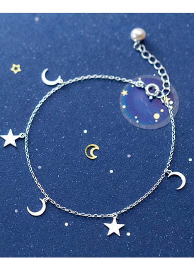 925 Sterling Silver With Platinum Plated Simplistic Star Ank moon Anklet