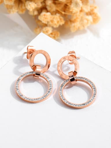 Stainless Steel With Rose Gold Plated Delicate Round with Rome number Stud Earrings