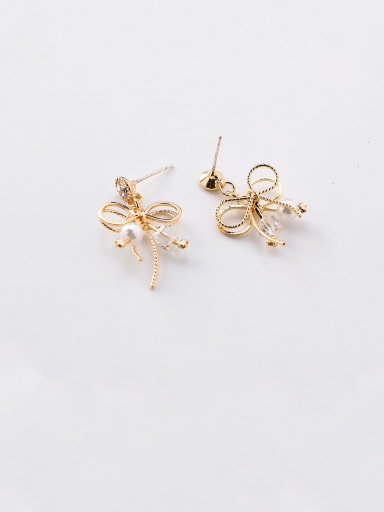 Alloy With Artificial Pearl Simplistic Bowknot Stud Earrings