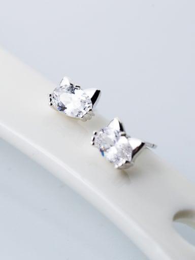 Lovely Cat Shaped Zircon S925 Silver Stud Earrings