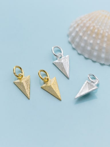 925 Sterling Silver With Smooth  Simplistic Geometric Triangle Charms