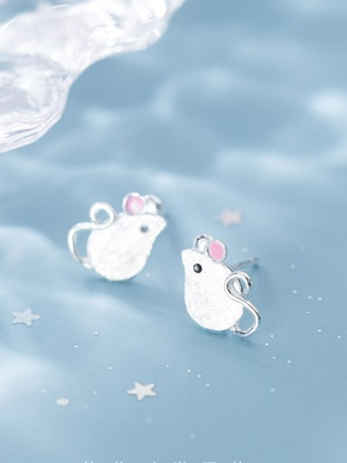 925 Sterling Silver With Platinum Plated Simplistic Mouse Stud Earrings
