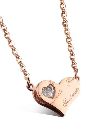Simple Heart Rhinestones Titanium Women Necklace