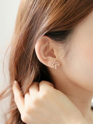 S925 silver wishing tree stud cuff earring