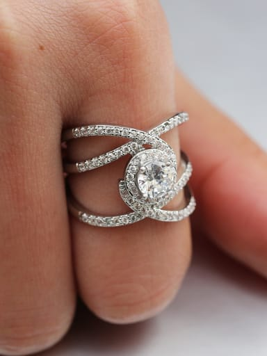 Copper With White Gold Plated Delicate Cubic Zirconia Engagement Rings