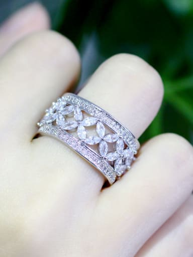 Copper With White Cubic Zirconia Delicate Flower Band Rings