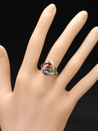 Exquisite Colorful Zircons Statement Ring