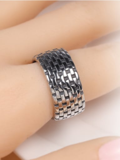 Stainless Steel With Antique Silver Plated Simplistic Round Rings