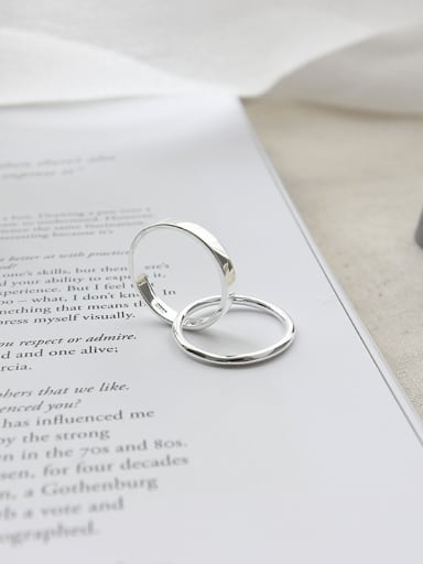 925 Sterling Silver With Silver Plated Simplistic Round Rings