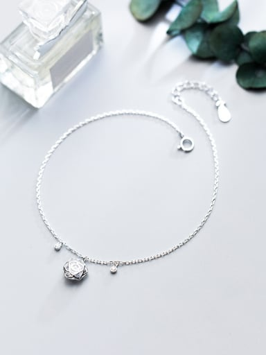 925 Sterling Silver With 18k White Gold Plated Delicate Rose Anklets