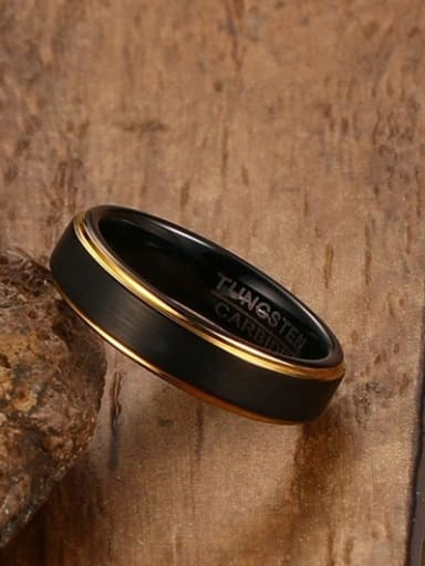 Retro Black Gun Plated Geometric Titanium Ring
