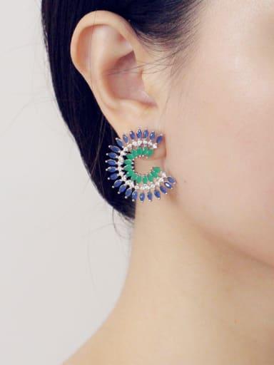 Fashion Fan-shape Zircons stud Earring