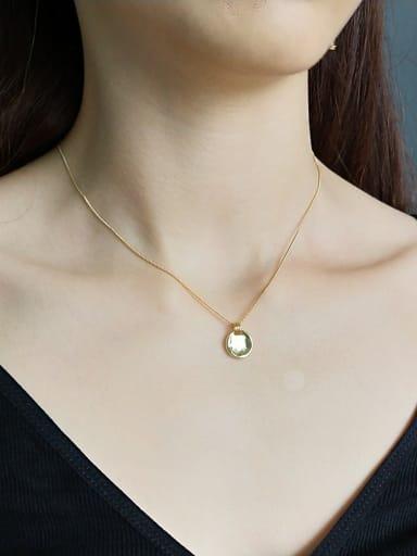 Sterling silver irregular round gold necklace