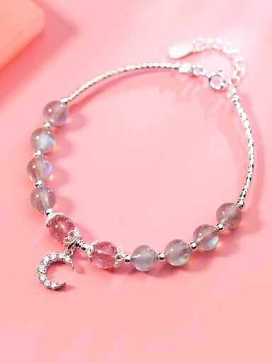 925 Sterling Silver With a mosaic moon Add-a-bead Bracelets