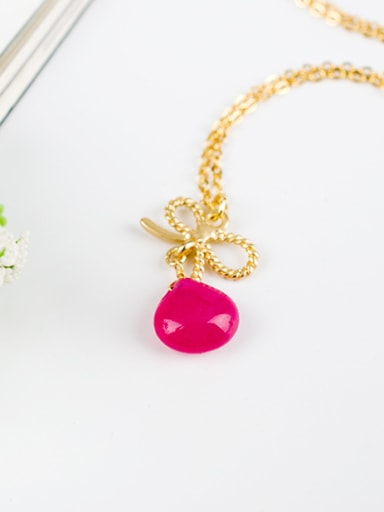 Exquisite Fuchsia Water Drop Shaped Gemstone Necklace