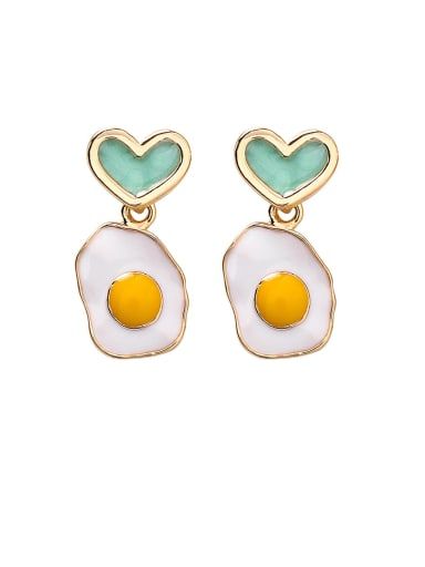 Alloy With Enamel Personality Asymmetry Poached Egg  Heart Drop Earrings