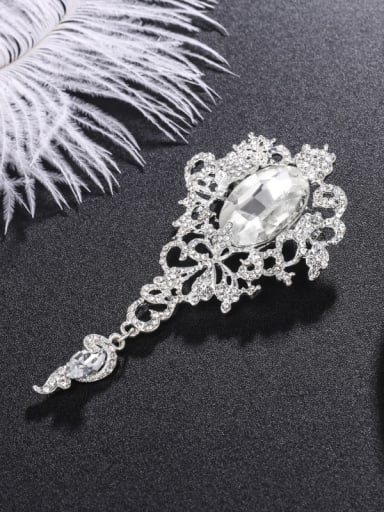 Alloy With Platinum Plated Exaggerated Flower Brooches
