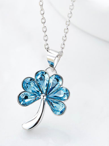 Fashion Blue Swarovski Crystals Flower 925 Silver Pendant