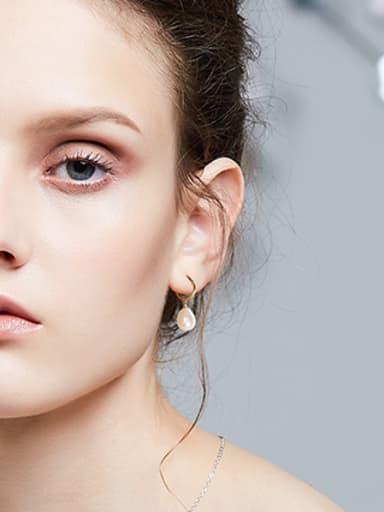 Fashion Water Drop Freshwater Pearl 925 Silver Earrings