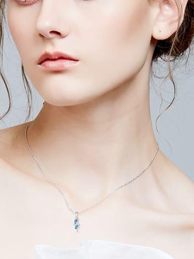 Elegant Oval Blue Swarovski Crystals Cubic Zirconias 925 Silver Necklace
