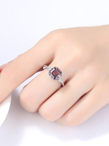 Sterling silver Square semi-precious stones bing-bing ring