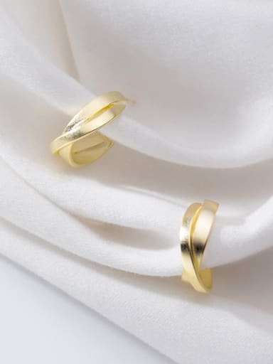 925 Sterling Silver With Gold Plated Cross Semicircle Simple C Shape Stud Earrings
