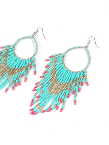 Creative Glass Beads Tassel Drop Earrings