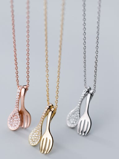 925 Sterling Silver With Cubic Zirconia Personality ISpoon Fork Necklaces