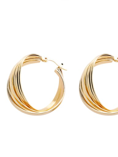 Alloy With 18k Gold Plated Trendy Square Hoop Earrings