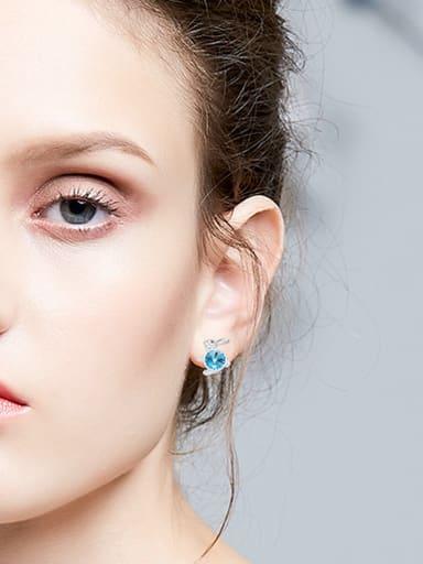 Fashion Little Rabbit Swarovski Crystals 925 Silver Stud Earrings
