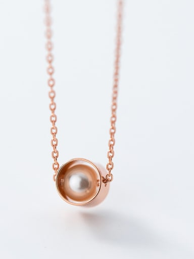 Pure silver simple round rose gold synthetic pearl collarbone chain