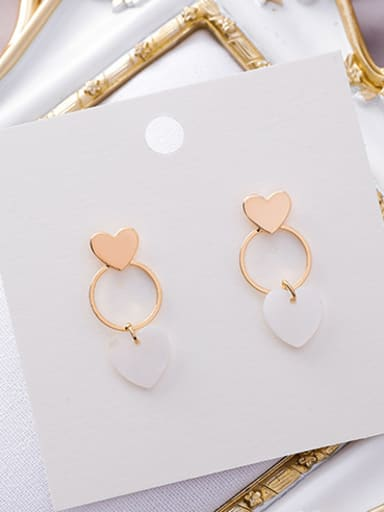 Alloy With Gold Plated Fashion Round shell Chandelier Earrings