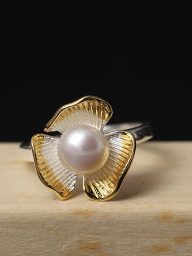 Color Plated Freshwater Pearl Open Ring