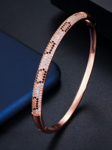 Copper With Cubic Zirconia  Luxury Round Bangles