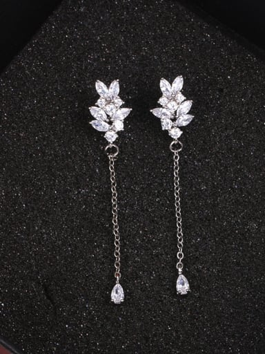 Copper With Platinum Plated Simplistic Flower Threader Earrings