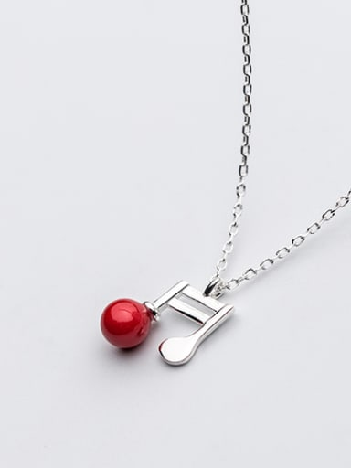 Creative Note Shaped Red Artificial Pearl S925 Silver Necklace
