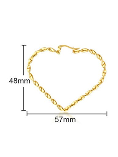 Stainless Steel With IP Gold Plated Fashion Heart Stud Earrings